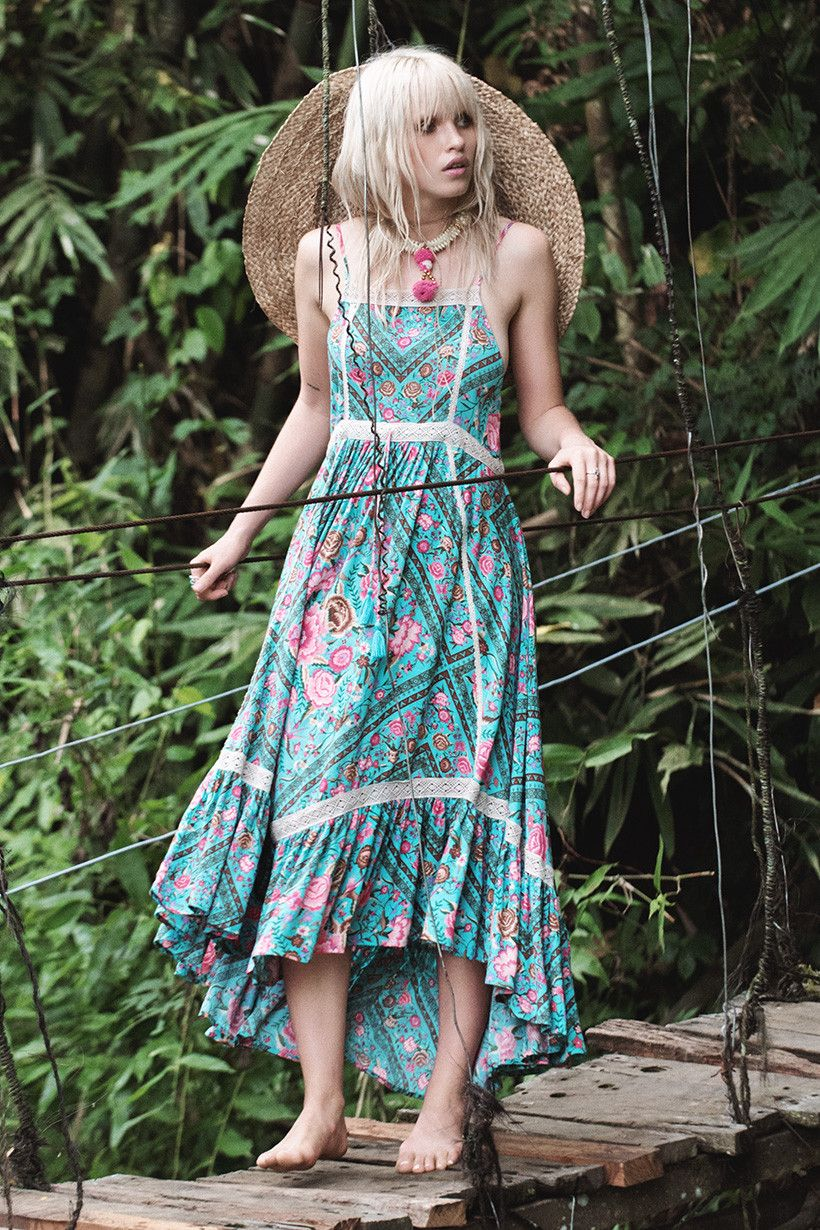 Spell u the gypsy collective spell babushka midi dress turquoise