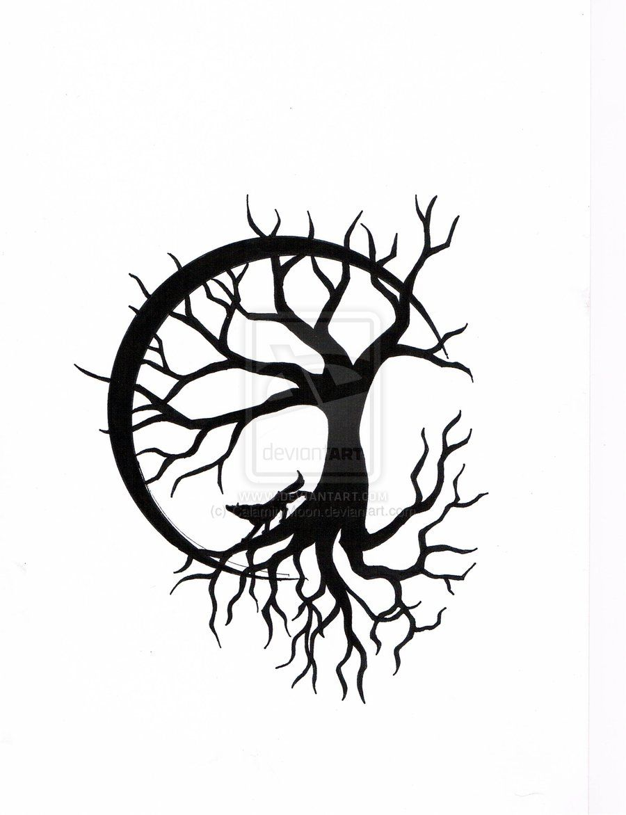 tree of with wolf design by calamitymoon deviantart com on
