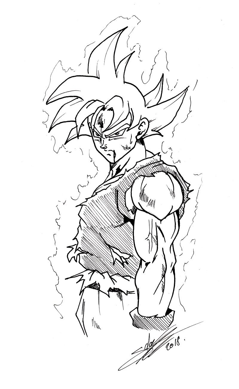 Ultra Instinct Maitrise En Dessin En 2020 Coloriage Sangoku Coloriage Dragon Dessin Goku