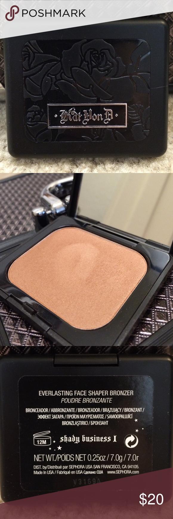 """Kat Von D- Everlasting bronzer (discontinued) Everlasting Face Shaper Bronzer """"shady Business 1"""" Discontinued, swatched only Kat Von D Makeup Bronzer"""