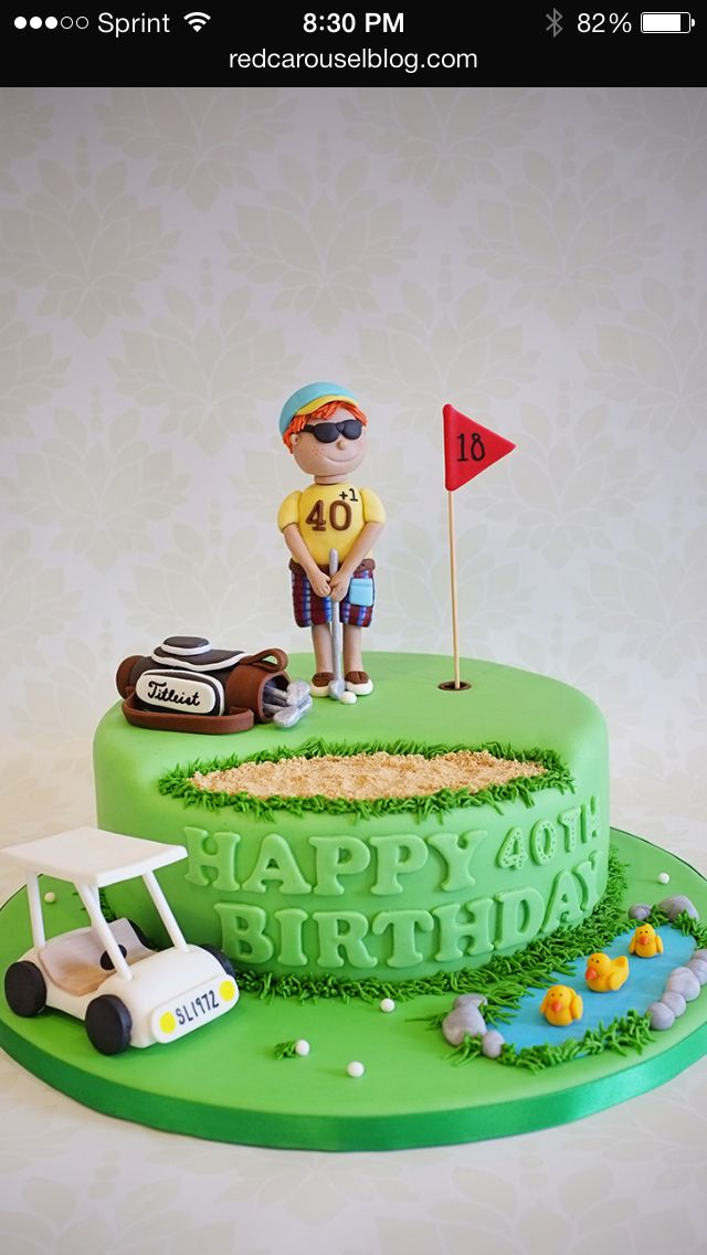 Fantastic Golf Birthday Cake With Images Golf Birthday Cakes Birthday Birthday Cards Printable Opercafe Filternl