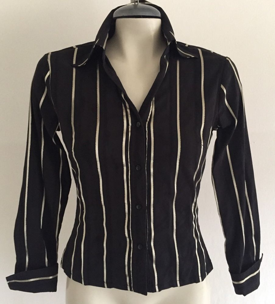 Nara Camicie Metallic Stripe Sheen Black Silver Shirt Blouse Sz 1 US Sz 4 $110 | eBay