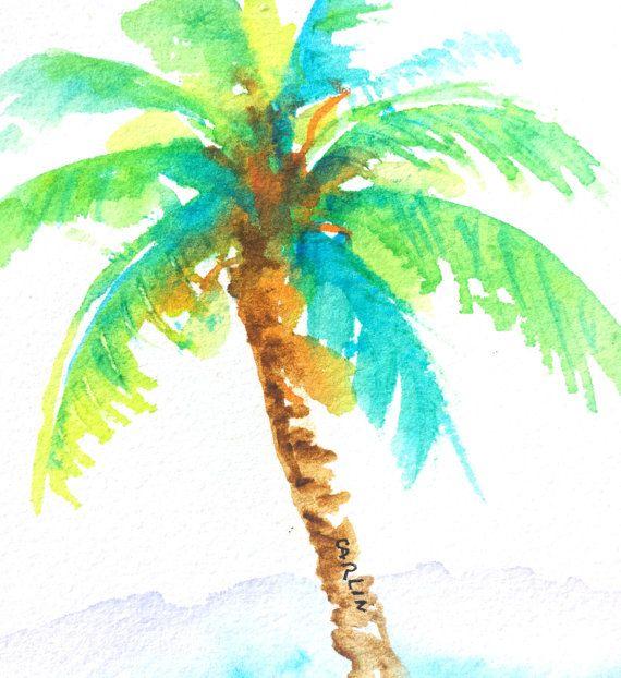 Original Watercolor Painting Coconut Palm By Carlinartwatercolor