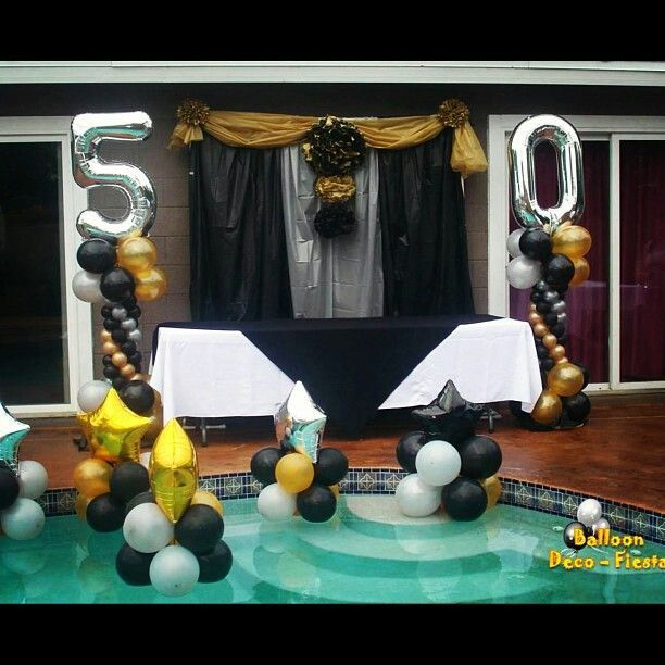 Make your swimming pool part of your 50th birthday decor for Decoration 50th birthday party ideas