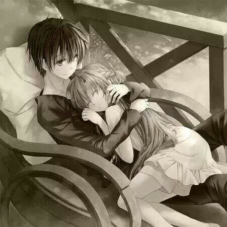 Sad lovely couple sleeping in romantic way babbu pinterest - Manga couple triste ...
