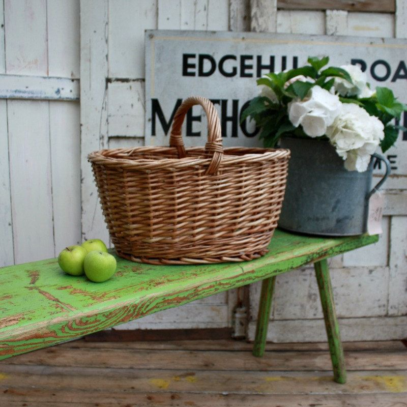 French Vintage Wicker Shopping Basket by Restored2bloved on Etsy