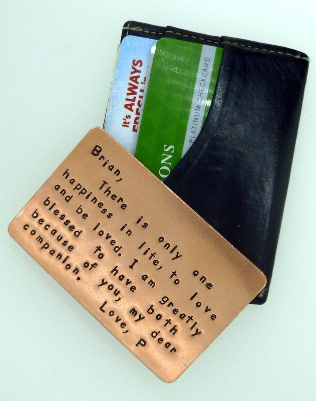 Wallet Insert Card - Copper Hand Stamped - 7th Anniversary - 7 Year. $50.00, via Etsy.