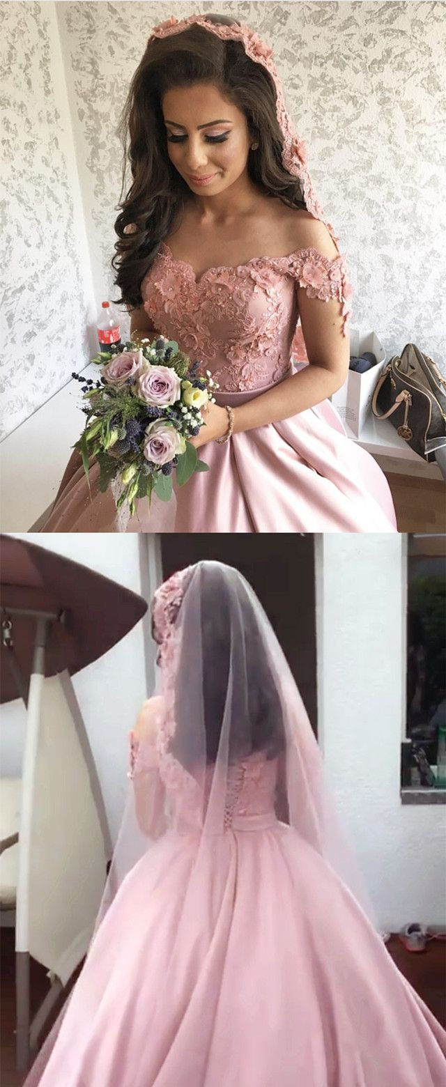 Light Pink Satin Off Shoulder Ball Gown Wedding Dresses Lace ...