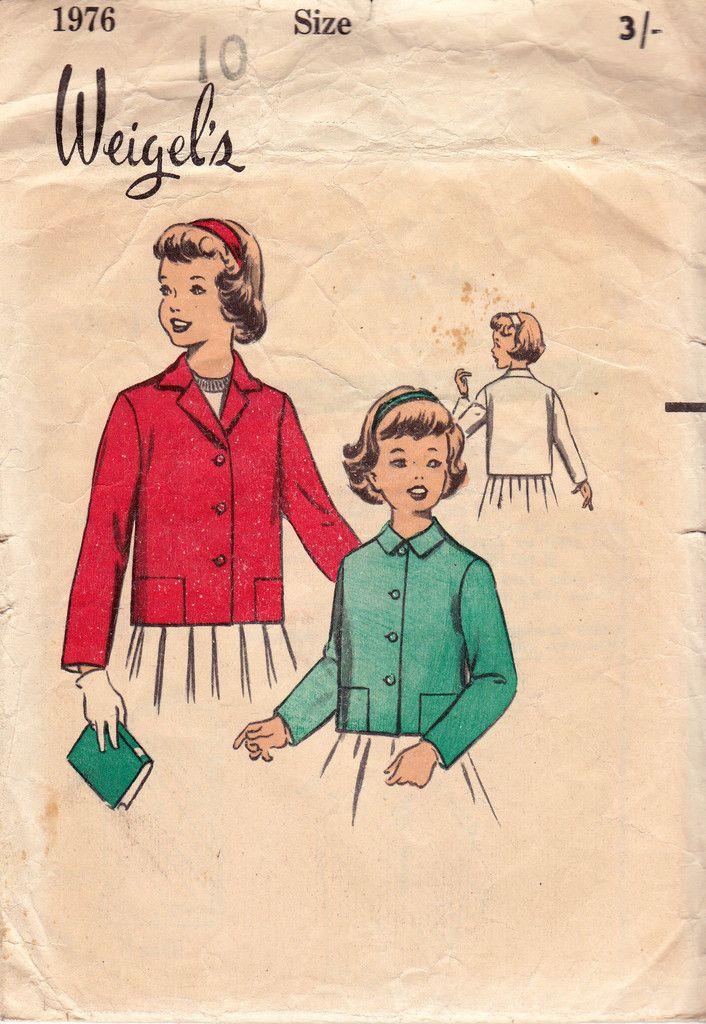 Weigels 1976 Girls Short Jacket 50s Vintage Sewing Pattern Size 10 ...