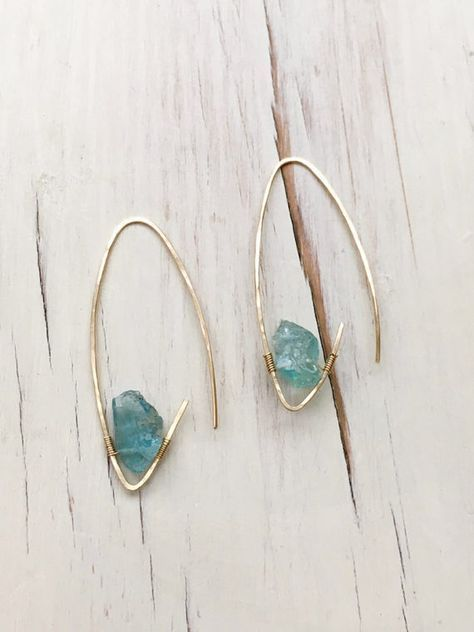 Photo of Aquamarine Earrings Aquamarine Raw Hoop Aquamarine Jewelry