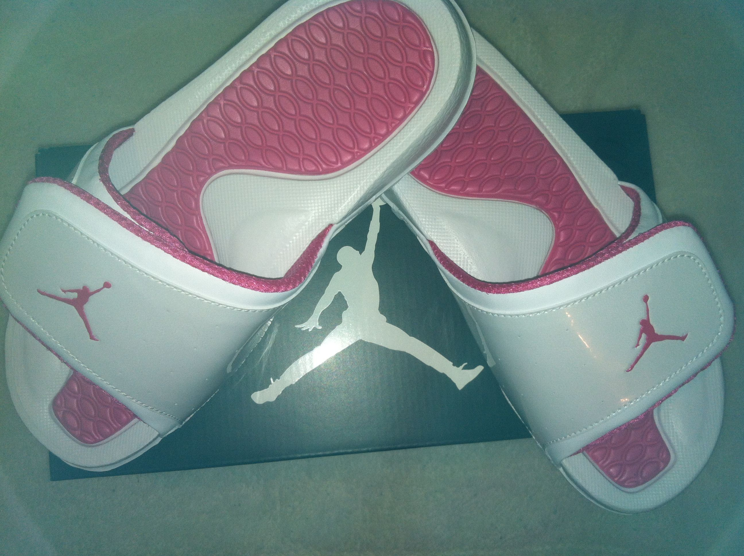 d1ec301ae92a Pink   White Jordan Sandals. Had these too until some crackhead stole em...  Right long with my black pink ones