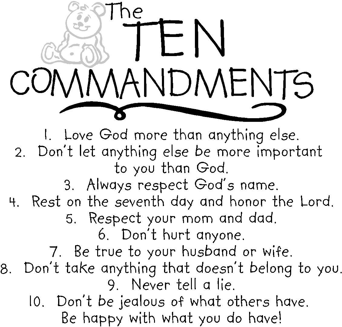 The Ten Commandments For Kids Re Pinned By Stoneartusa