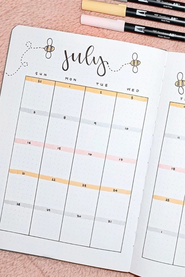 22 Best July Monthly Spread Examples For Inspiration - Crazy Laura