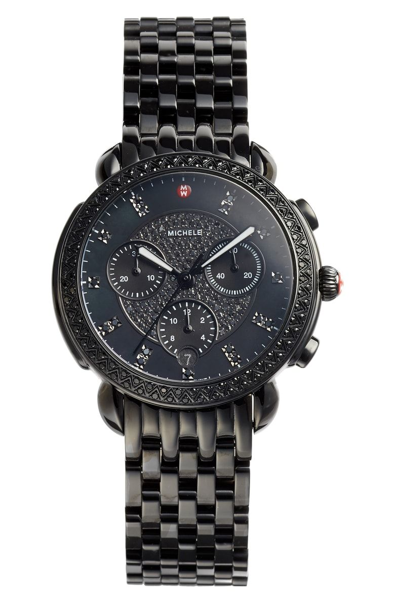 Michele sidney chronograph diamond bracelet watch 38mm