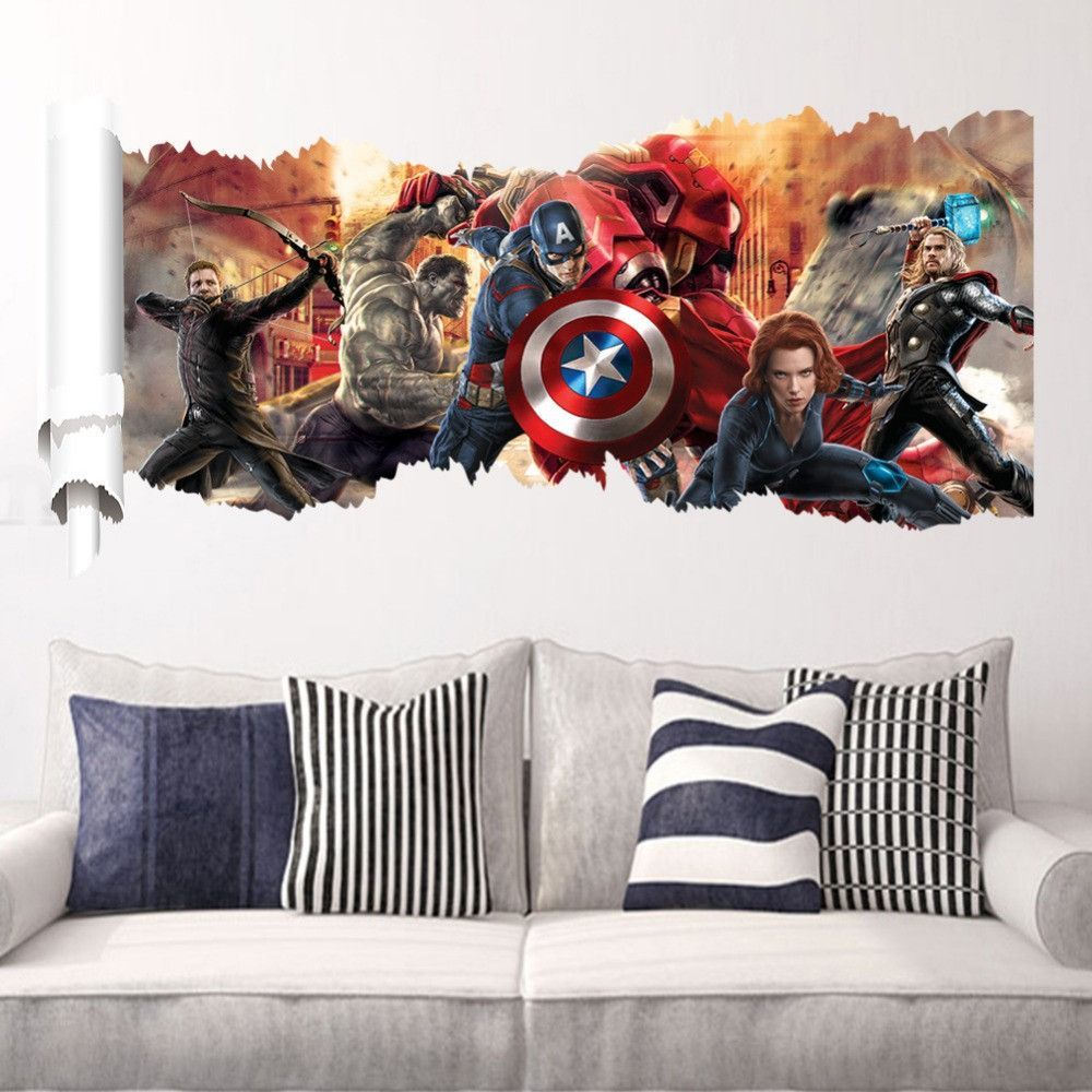 Avengers Character Movie 3d Wall Decal Kids Room Wall Stickers