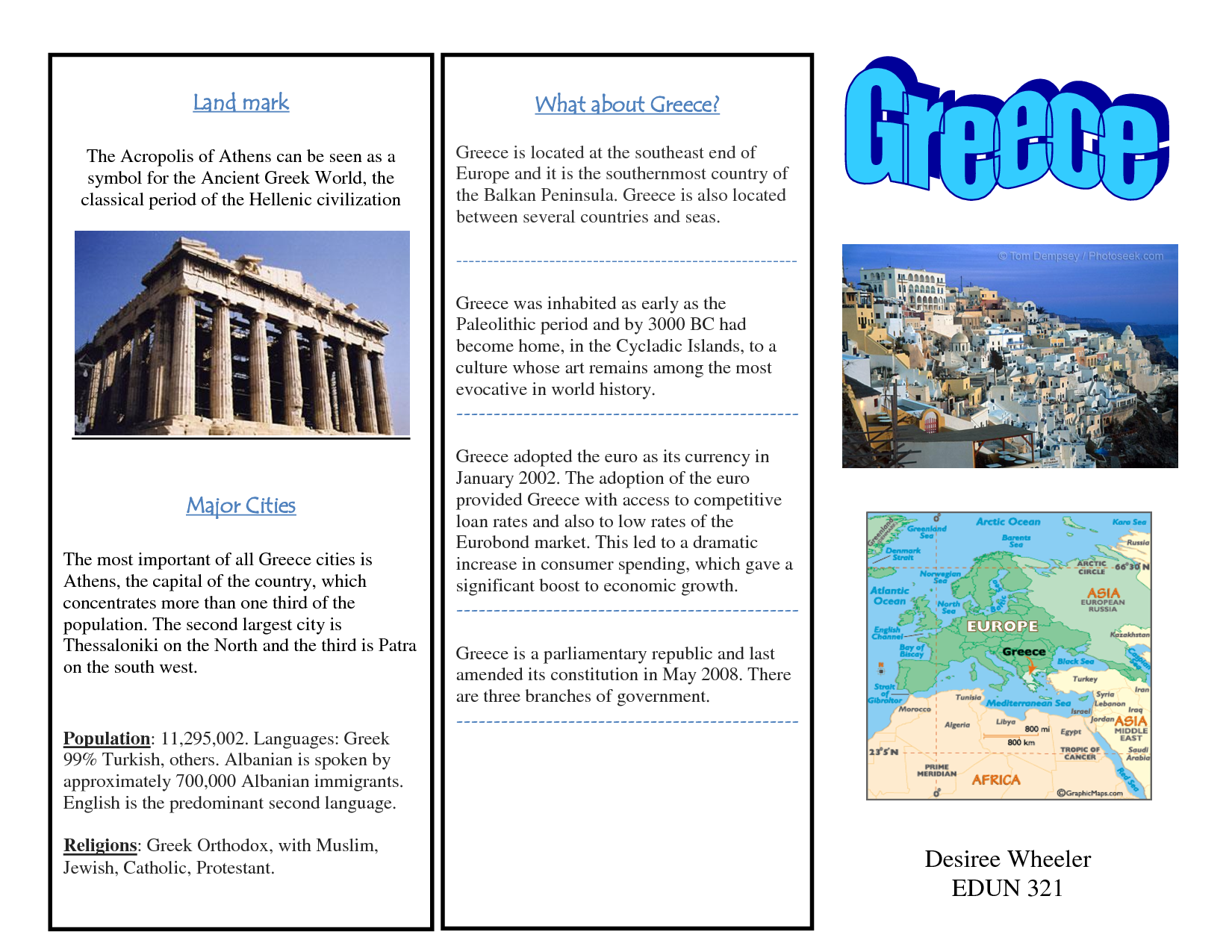 Greece Travel Brochure Kids Writing Project
