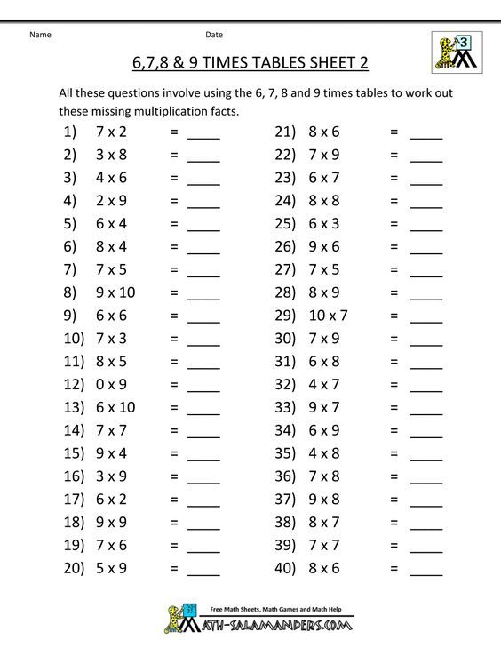 Free Math Sheets Multiplication 6 7 8 9 Times Tables 2 Math And