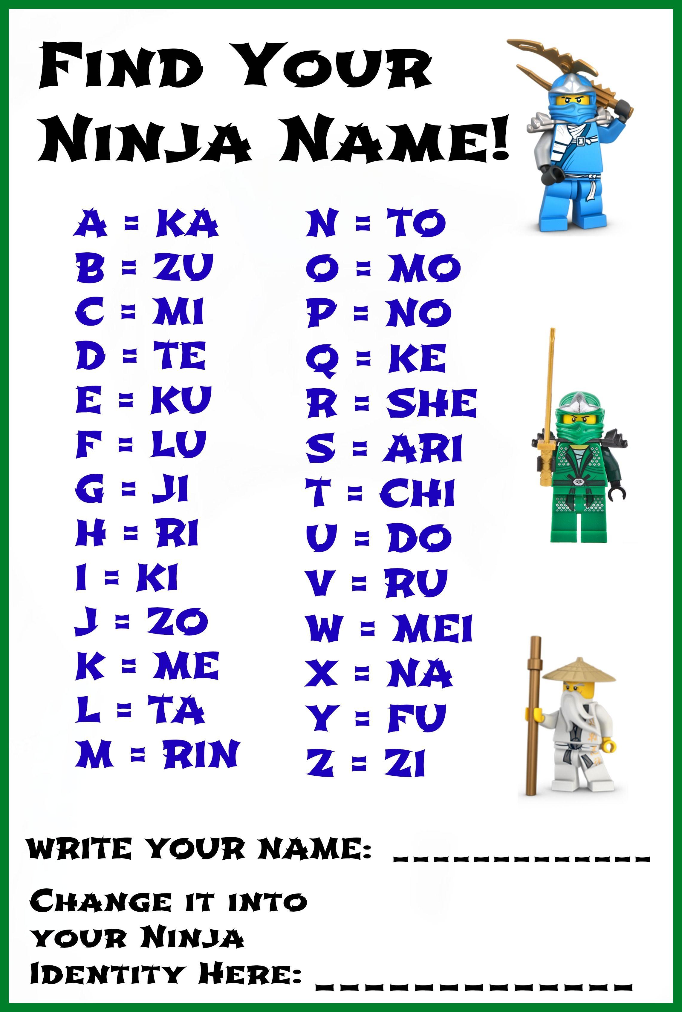 Ninja Name Activity For The Kiddos