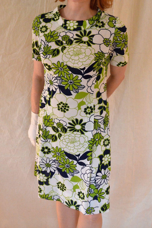 60s green dress  Retro s Green u Blue Floral ALine Dress Casualmaker by Sal