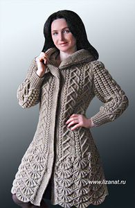 пальто с каймой и капюшоном от натальи лок волшебные спицы и