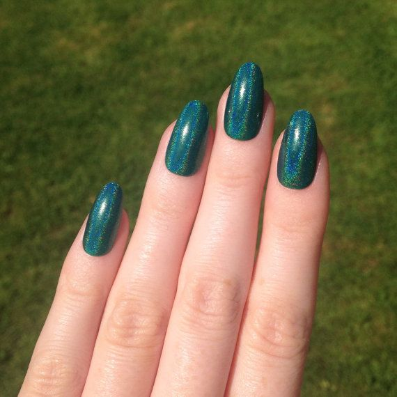 Ultra Holographic Green-Teal Oval nails Nail by ...
