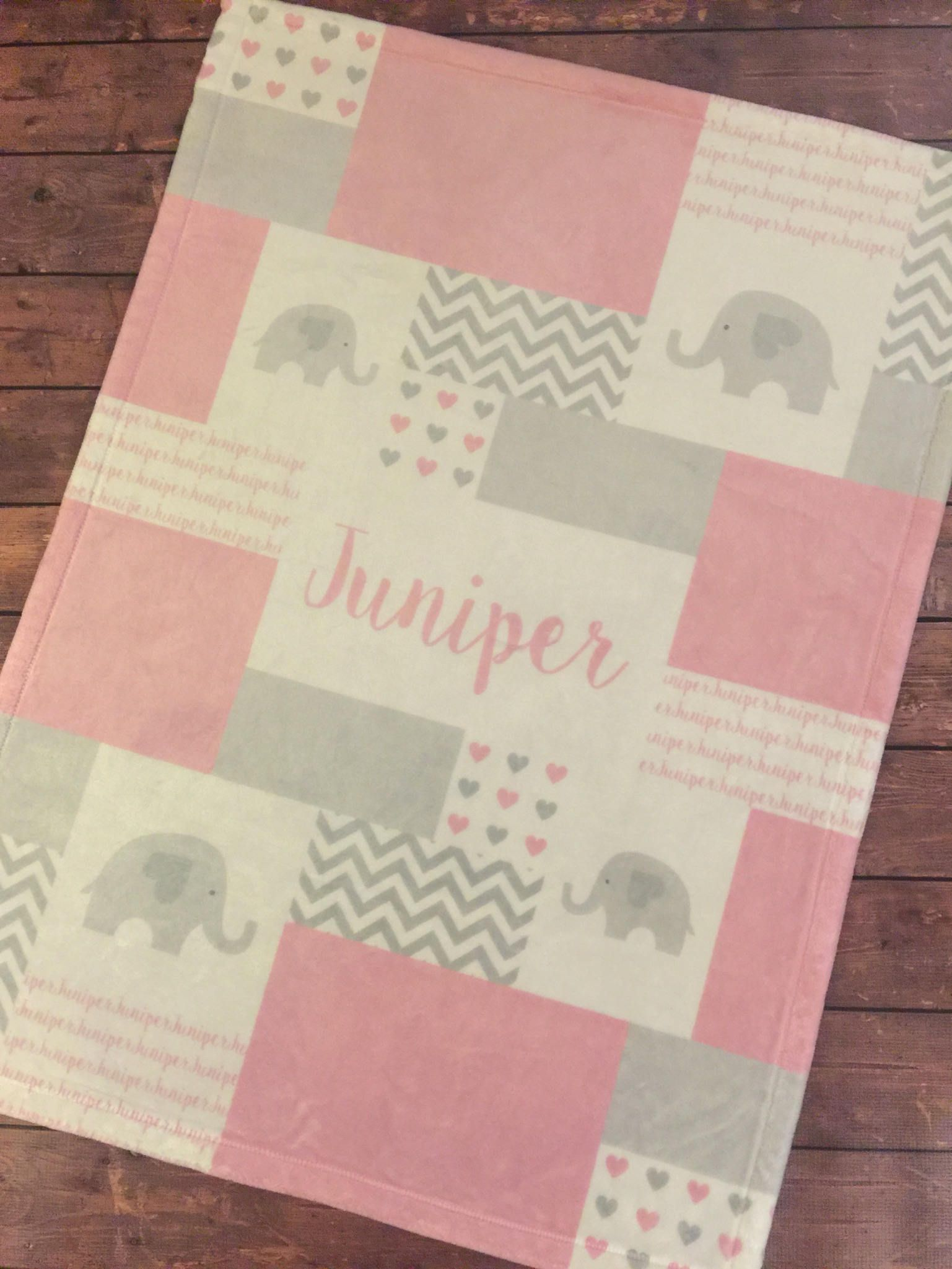 Personalized Baby Blanket Quilt Print Elephant Blanket Etsy Personalized Quilt Elephant Blanket Personalized Baby Blankets