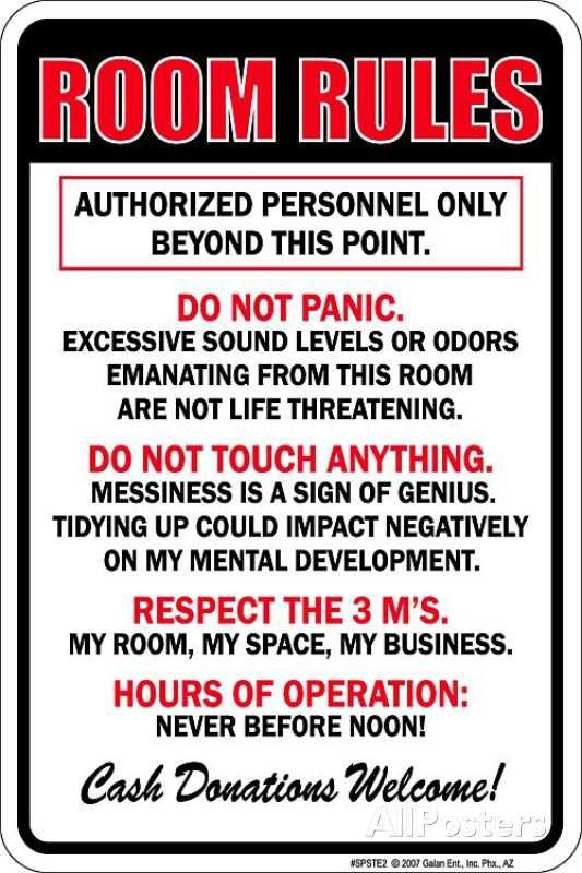 Room Rules Tin Sign Clean Bedroom Bedroom Posters Room