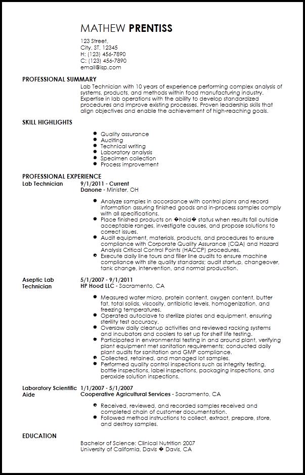 Resume Now Free Professional Lab Technician Resume Template Resumenow 19977aa0 Resumesample Resumefor Lab Technician Job Resume Samples Laboratory Technician