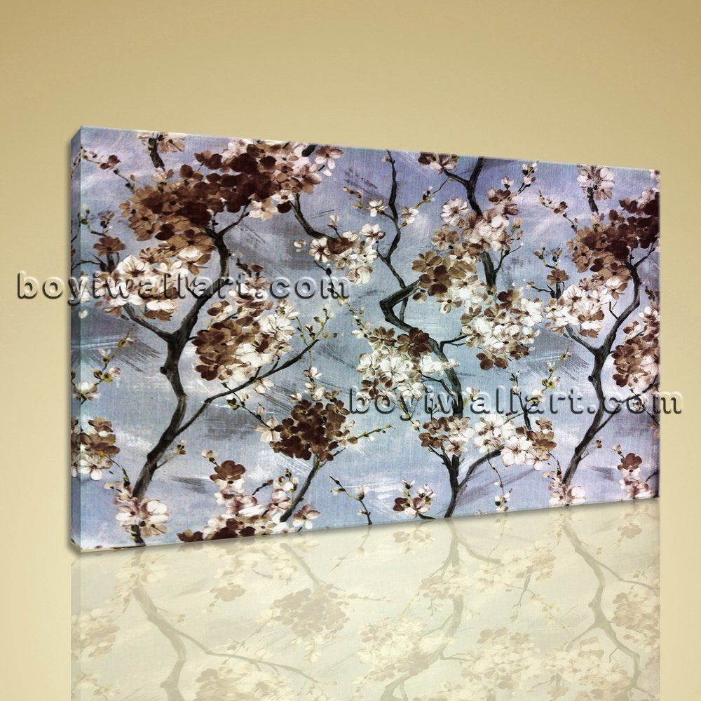 Large stretched contemporary home decor abstract floral flower