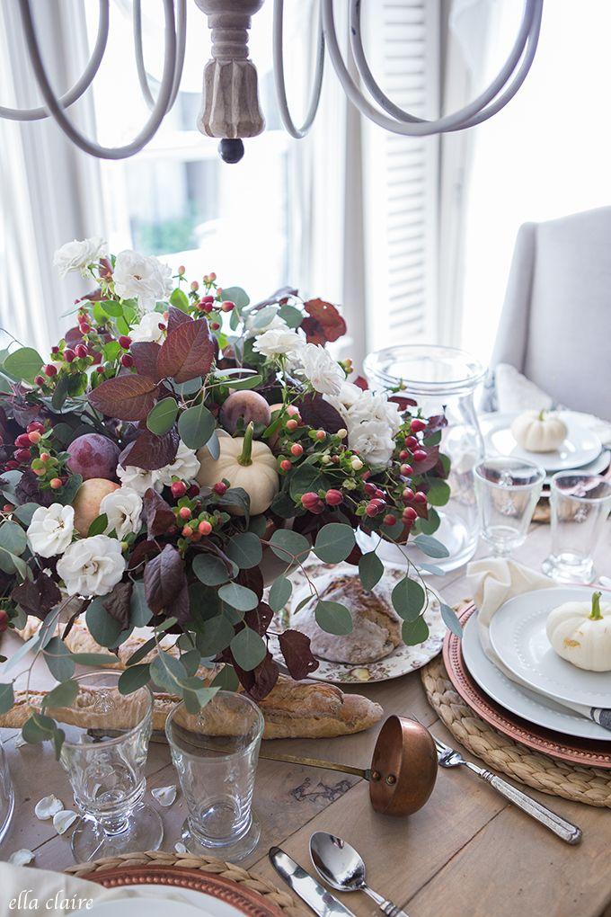 Plum Burgundy Vintage Copper White Pumpkins Tablescape Pumpkin Tablescape Fall Table Decor Neutral Fall Decor