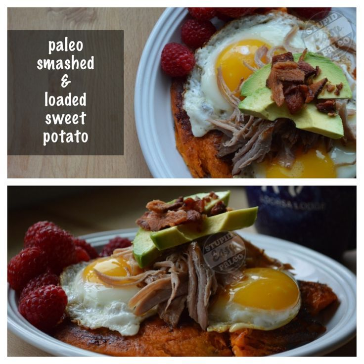This Loaded Sweet Potato will satisfy your cravings, but it's healthy, too. Topped with smoky pulled pork, creamy avocado & farm fresh eggs.