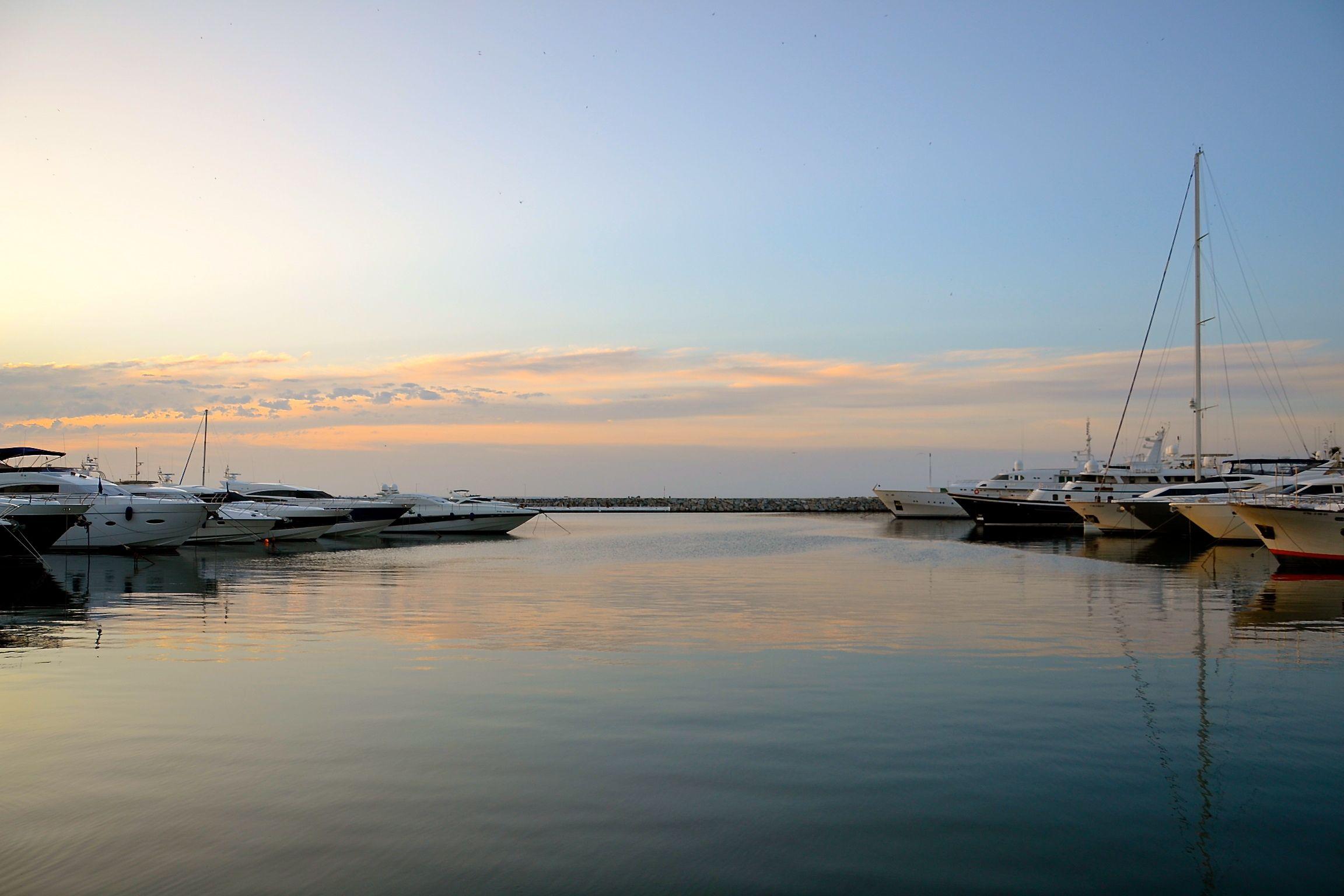 Sunrise at Puerto Banus in Marbella, Spain.