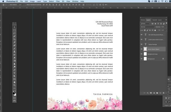 Personal Letterhead Template , Romantic stationery, corporate identity, simple letterhead, elegant letterhead, watercolour floral letterhead