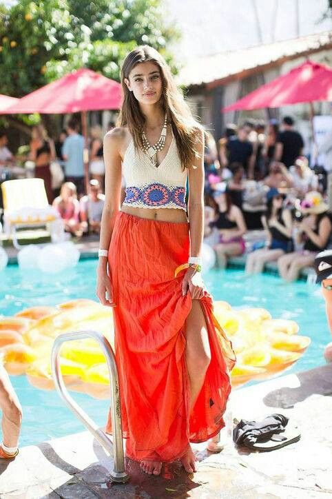 bohemian pool party  coachella fashion summer fashion