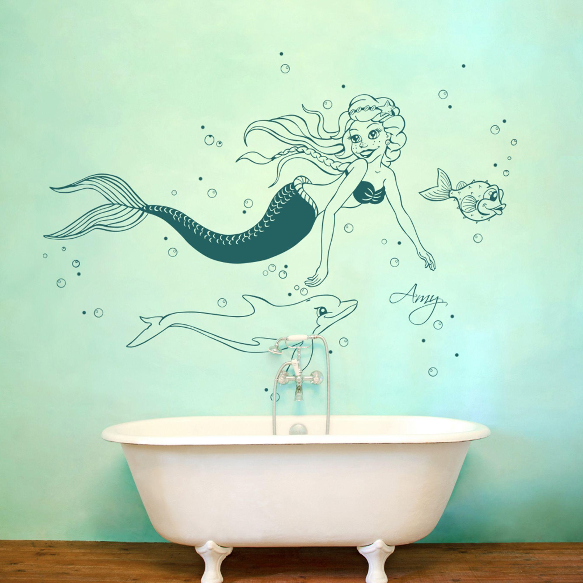 so eine süße Meerjungfrau ;) | Wandtattoo für Kinder | Pinterest ...