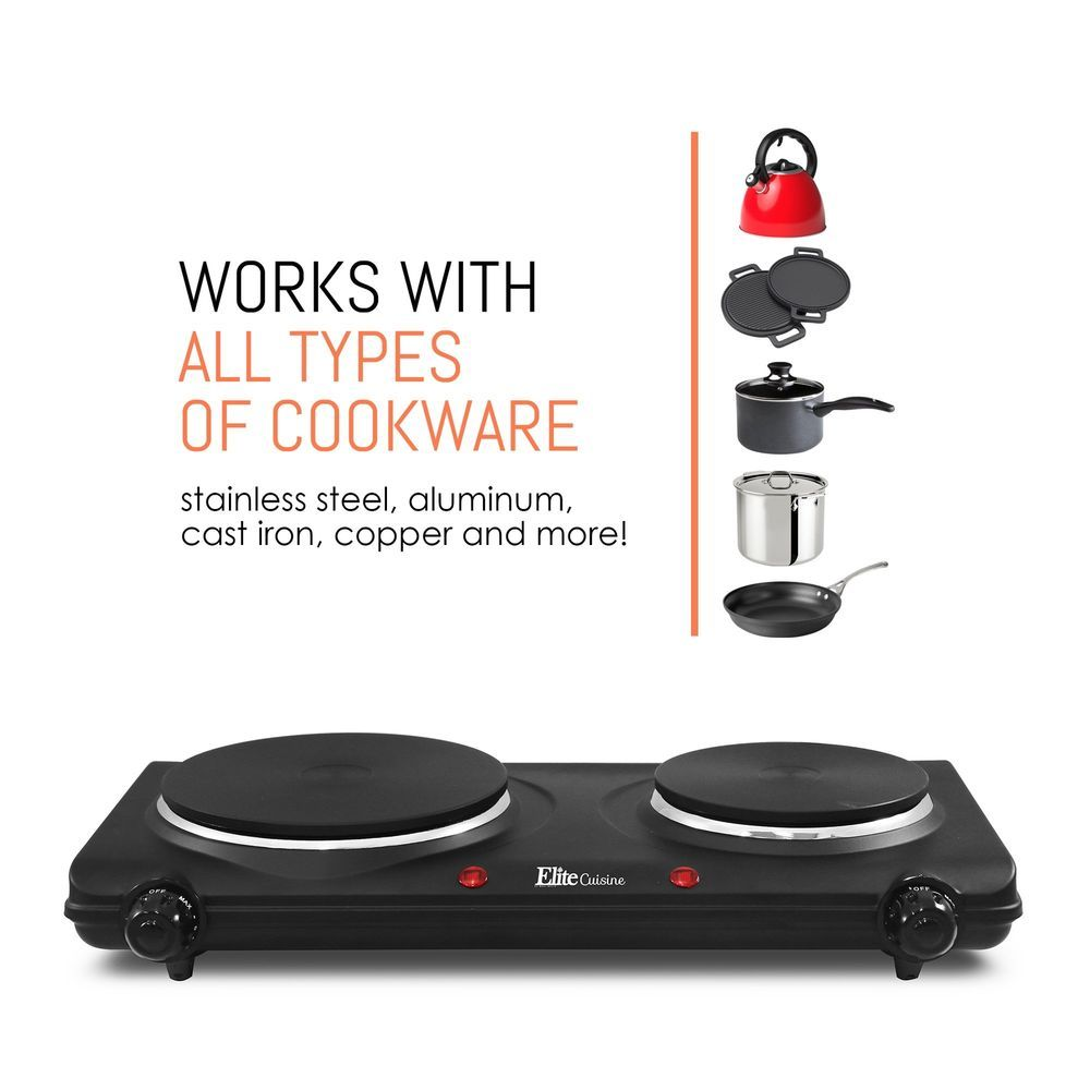 Electric Stove High Powered 2 Burners Cook Range Oven Hot Plate Dual Temperature Elitecuisine Oven Range Electric Stove Hot Plate