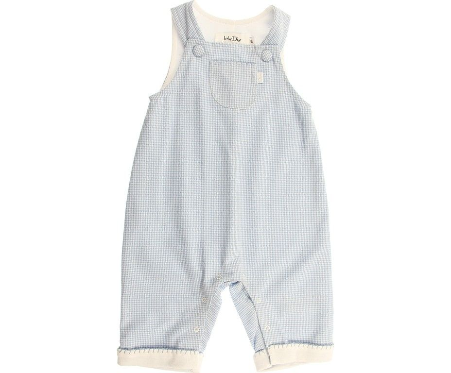 Dior Baby Boys Blue Houndstooth Cotton Dungarees