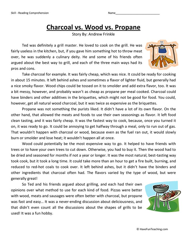 Charcoal Wood Propane Fifth Grade Reading Comprehension Worksheet ...
