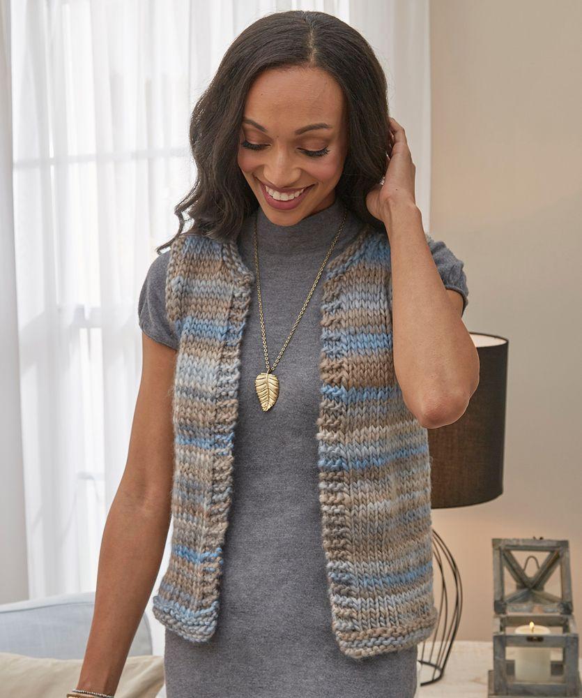 Simply Styled Vest | Red Heart | Knit vest pattern women ...