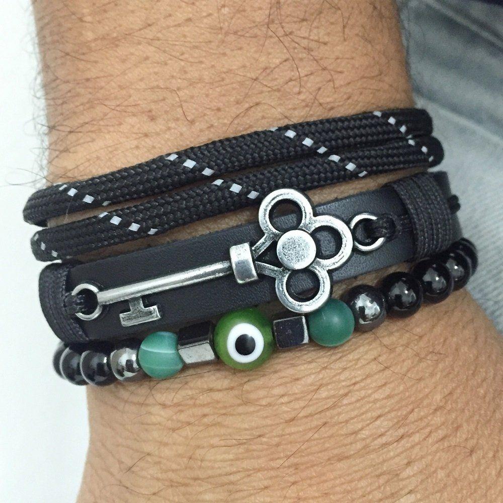 Kit 3 Pulseiras Masculinas Couro Olho Grego Onix Chave Key bracelets fashion mens style cocar brasil