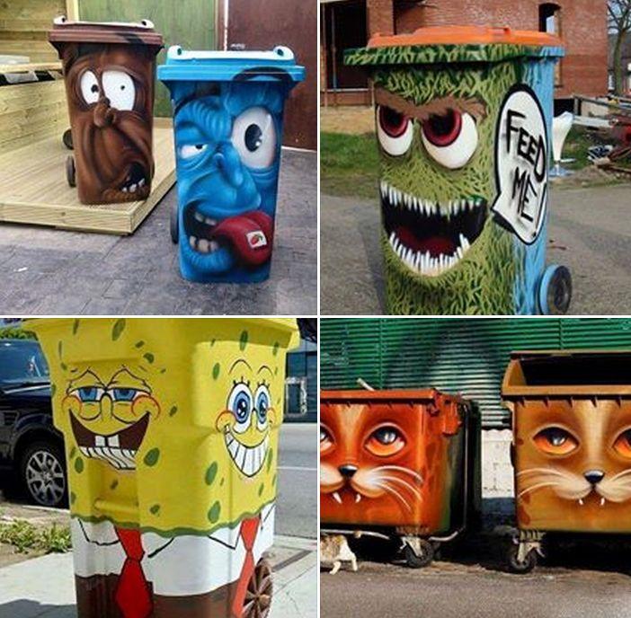 Trash Cans Street ArtTrashcan Paintedart PAINT IT In 48 Custom Exterior Trash Receptacles Creative Painting