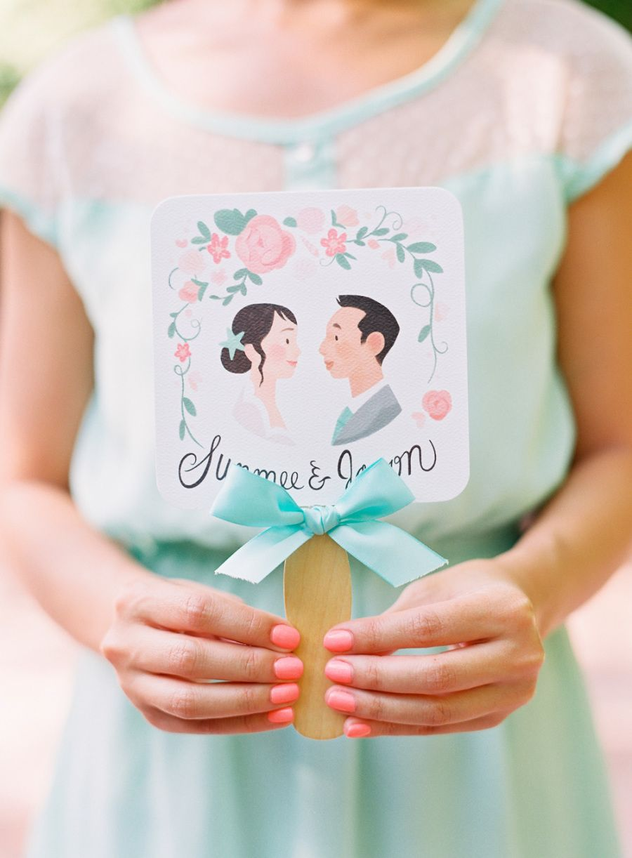 Romantic whimsical garden wedding program fans romantic and