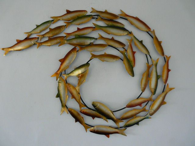 Outdoor Wall Art | Contemporary Metal Wall Art  Swirling Fish Shoal  : shoal of fish metal wall art - www.pureclipart.com