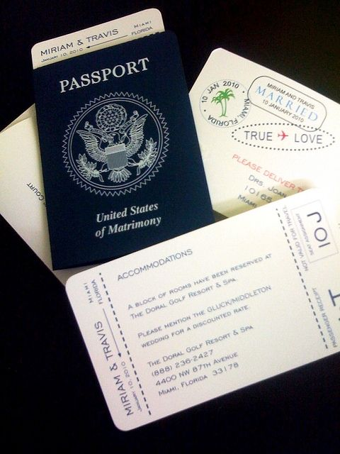 A Passport Invitation and boarding passes to a Destination Wedding!