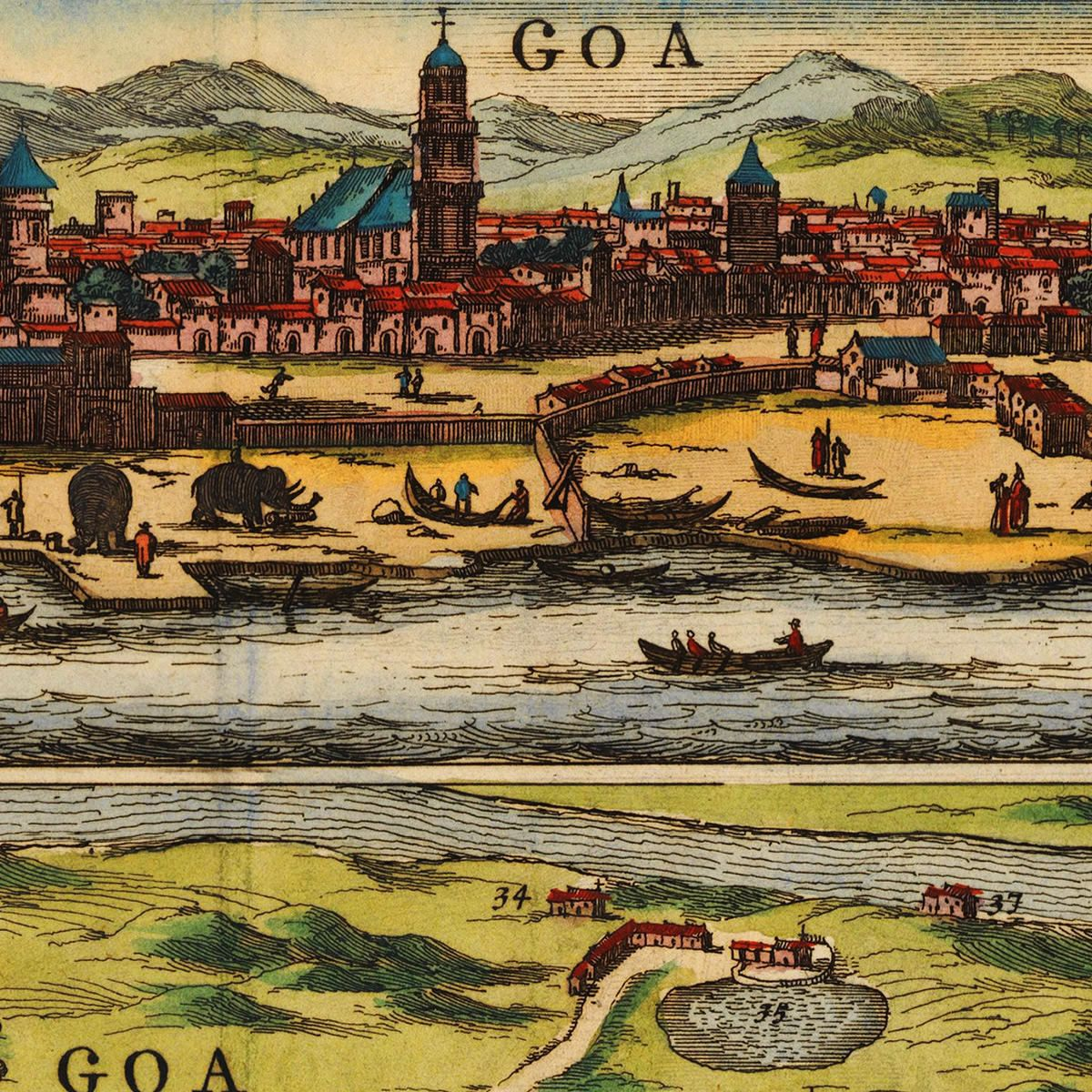 Goa India Baldaeus Plan View Old Map Battlemapsus - Map of us bioregions ancient food traditions