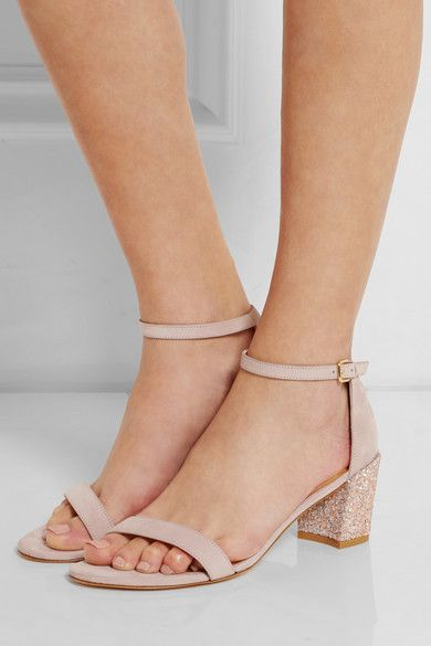 Beige Simple glittered nubuck sandals