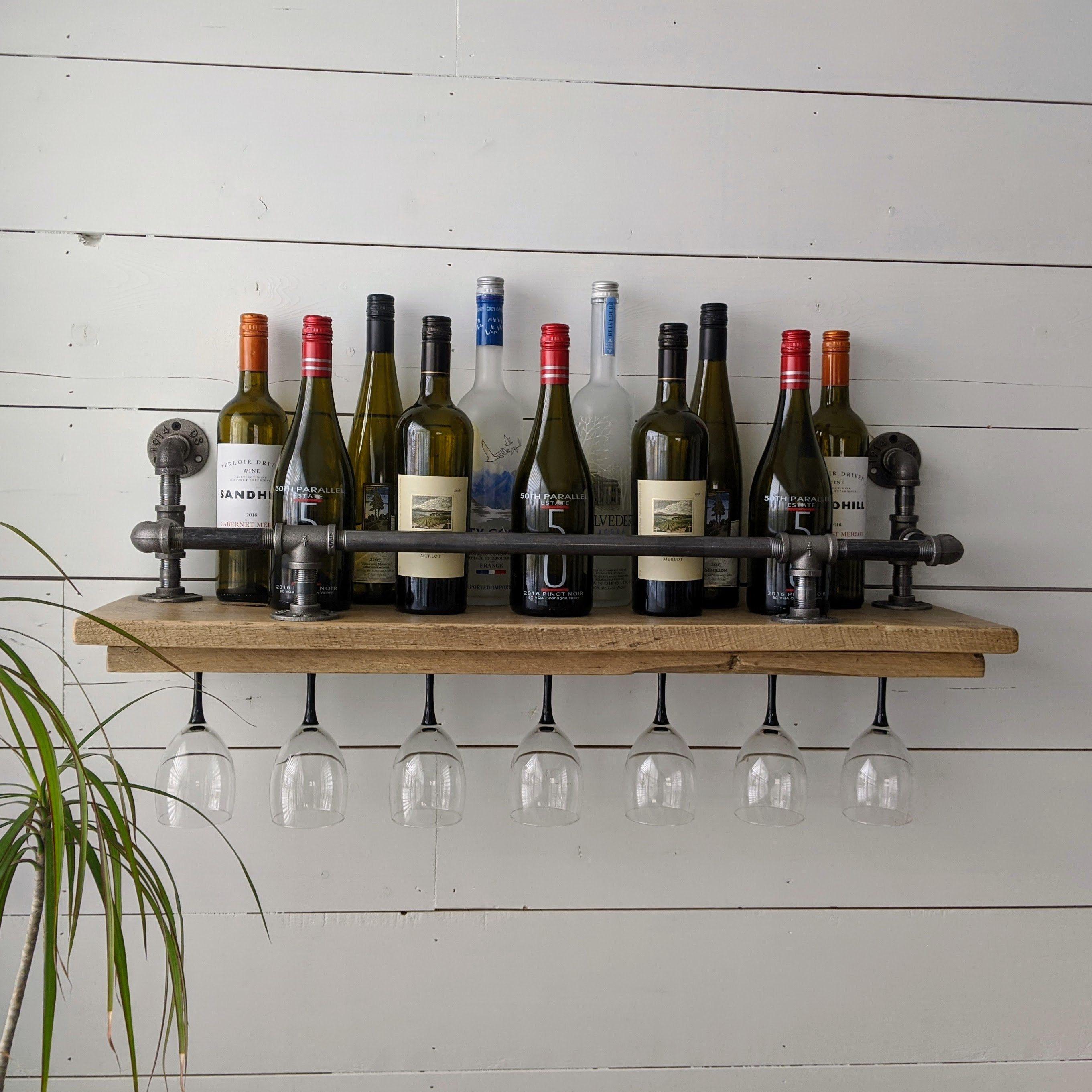 Rustic farmhouse liquor shelf wine rack urban loft