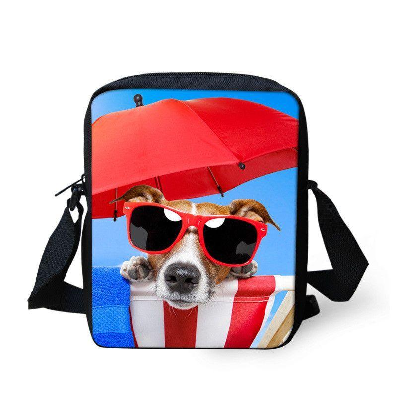 Messenger Bag School Small Handbag for Toddler Zoo Trip Dog Print