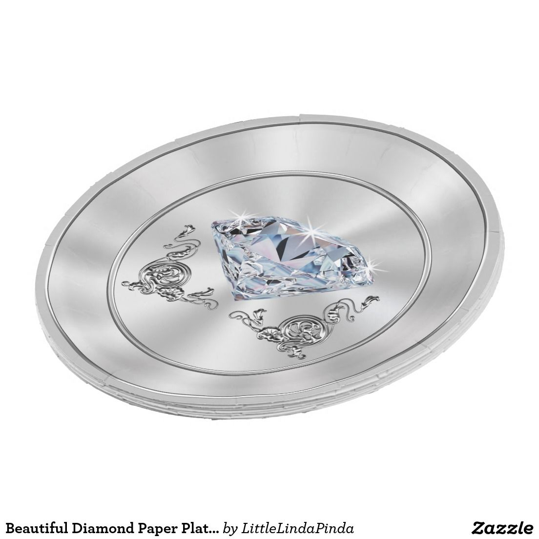 Beautiful Diamond Paper Plates Diamond Party Theme | Diamond party ...