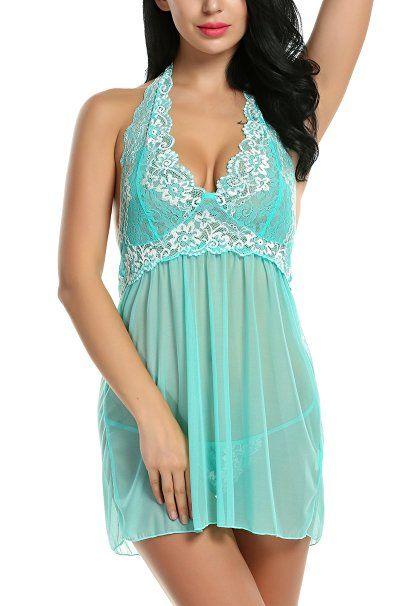 Women Outfits Halter Lingerie Mini Nightwear Lace Babydoll Green S